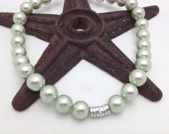 Pearl Choker Mint Green Pearl Necklace