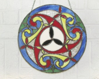 Stained Glass Celtic Spiral Panel