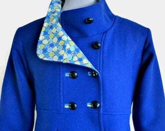 Winter Coat, Swing Coat with Optional Hood in Wool or Corduroy, Women's Outerwear, Shown in Cobalt Blue Wool