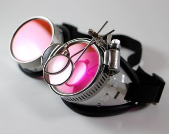 """Victorian Steampunk, Mad Scientist goggles, """"Dr. Jekyll"""" XVI Red UV Reactive Lenses"""