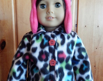 Handmade American Girl Fleece Animal Print Coat and Hat Set
