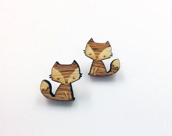 Fox Earrings | Laser Cut Jewelry | Hypoallergenic Studs | Wood Earrings