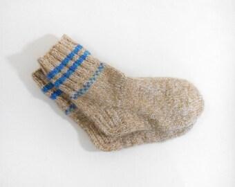 Knitted Wool Socks - Beige, Blue, Size Small