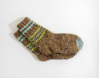 Knitted Wool Socks for Teens - Brown, Yellow, Size Very Small