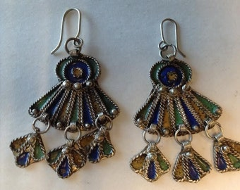 Vintage Moroccan Berber Queen Tribal enameled Wirework Earrings
