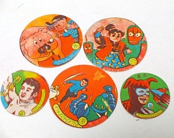 """Lot of 5 50's Japanese vintage card game piece """"MENKO"""""""