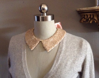 Rose Gold Sequin Peter Pan Collar Necklace, 2 Sided with Swarovski Embellishment and Rose Bow Back Closure