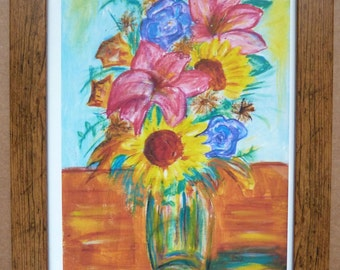 Abstract Style Flowers in Vase