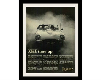 "1968 JAGUAR XKE Car Ad ""Tune Up"" Vintage Advertisement Print"