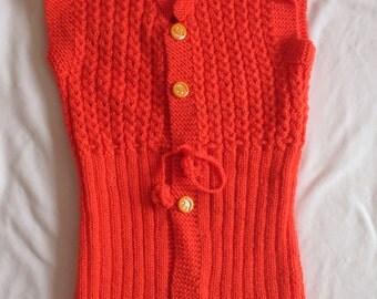 Knitting Long Orange Vest /  knit Vest / Handmade Vest / Orange  Long Vest