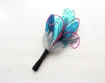ETHAN Turquoise, Navy, Fuchsia, Teal and Striped Feather Boutonniere