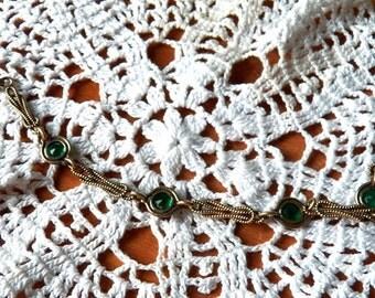 Dainty 'Sturdy' Emerald Rhinestone Bracelet