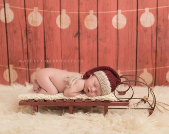 5ft x 5ft + Photography Backdrop - Fa La La Backdrop, Christmas Backdrop, Holiday Backdrop, Wood Backdrop