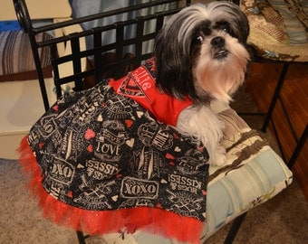 Made to Order Valentines Day Dog Dress Embroidered with Name and Hearts