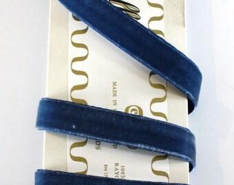 "Velvet,  5/8"" x 3 yards, Century Brand, 100% Rayon - Dior Blue - Vintage Velvet Ribbon"