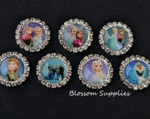 U PICK - FLATBACK Frozen Inspired Rhinestone Metal Buttons Crystal Clear 20mm - Flower Bow Centers