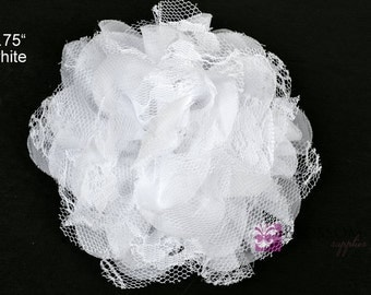 WHITE Flowers - The Charlotte Collection -Small Shabby Chiffon and Lace Puff Flowers - DIY Headbands - Fabric Flower Head Blossom Supplies
