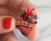 Anatomical MOM heart tattoo pin/brooch