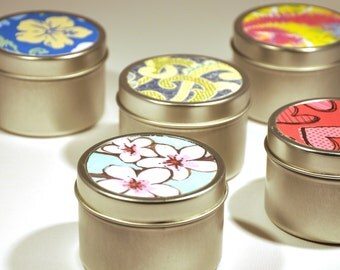Colorful soy wax candle, 4 oz travel tin in fabulous fragrances
