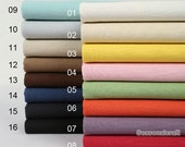 Plain Linen Fabric Solid Cotton Pure Linen Fabric Solid Grey Brown Blue Red Pink Purple Black Natural Beige Yellow Fabric - 1/2 yard (QT412)