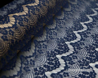 1 yard Navy Blue eyelashes paragraph clothing lace fabric, Embroidery,Wedding,Navy Blue Color,Polyester Mesh,Cotton stretch fabric (W105)