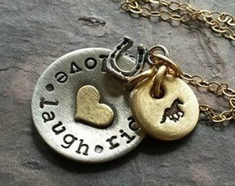 Hand Stamped Horse Lover Necklace-EquestrianNecklace-Hand Stamped Horse