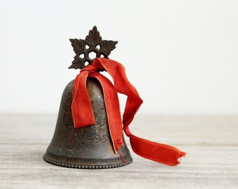 Vintage silver plate Christmas bell / rustic holiday decor / holiday cabin decor / Yuletide bell / red ribbon / Christmas 1993 / home decor