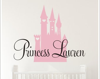 Personalized Princess Decal Castle and Name Wall Decal Girls Princess Nursery Decal Girls Bedroom Decal Vinyl Wall Decals Princess Castle