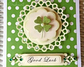 Handmade Card Vintage Flower, Wedding favor card, Irish card, Good Luck clover, Love, Birthday, Christmas, Special event, Creheart