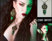 Necklace 'Classic emerald' with real beetle wings and swarovski, taxidermy necklace * Elegant Curiosities *