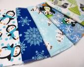 Holiday Cloth Napkins, 5 Kids Christmas Napkins, 5 Holiday Unpaper Napkins, Unpaper Christmas Napkins