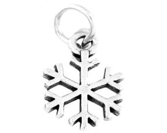 Sterling Silver Snowflake Charm (One Sided Charm)