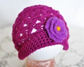 Spring beautiful hat for little baby girl, pretty floral pattern, felted flower