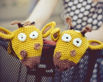 Giraffe bike handwarmers, bike gloves Wool Crochet Spring Unisex Woman Man Teens, birthday gift for bike rider, cyclist