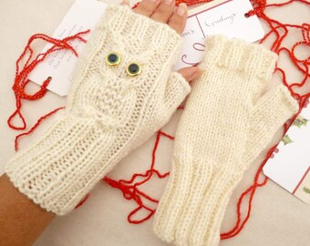 Knitted Mittens, Owl Fingerless Mittens, Wool Knit Gloves, Wrist Warmers, Christmas Gift for Teens Winter Gloves Accessories