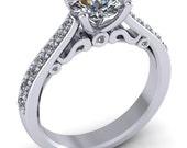 palladium moissanite engagement ring,filigree bridal moissanite ,style 107PLDM