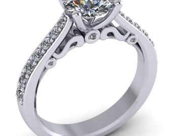 platinum moissanite engagement ring,filigree bridal moissanite ,style 107PLDM