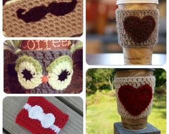 Variety of coffee cozys, stocking stuffers, coffee sleeves, cup cozy, mug cozy, heart coffee cozy, mustache coffee cozy, owl coffee cozy