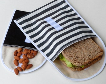 Organic Sandwich Bag Set, Cotton Lunchbag, Reusable Snack Bags, Black Striped Handprinted Fabric