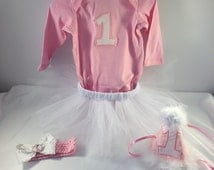 Baby Girls 1st Birthday Outfit, Girls 1st Birthday, Cake Smash Outfit, Milestone Birthday, Pink And White Birthday, Pink Onederland