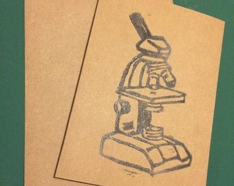 Microscope Cards Handstamped on Kraft Paper Cardstock Set of 3