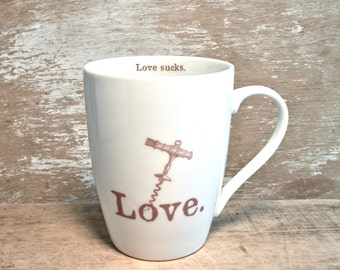 Screw Love Mug, Love Sucks, Ironic Love Coffee Cup,  Corkscrew Love Stabbed Heart, AntiValentine, 16 oz Porcelain Mug, Ready to Ship