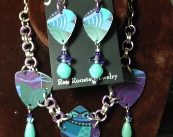 "Owl necklace earrings recycled gift card chain mail 20"" adjustable hot mod purple aqua silver-tone"