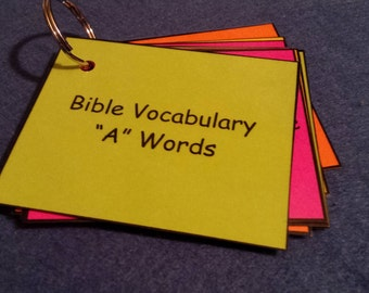 Bible Vocabulary Words & Definitions, LAMINATED, Spelling Words, Flash Cards, Children's, Church, Christian, Home School, Kids Bible