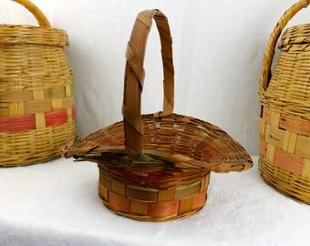 VIntage Medium DARK Stained Easter Basket Made in Mexico Fluted Easter Basket Vintage Faded Reed Basket