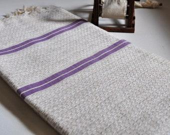 Turkish Bath Towel Handwoven Linen Cotton Mixed Peshtemal Ivory Lilac Striped