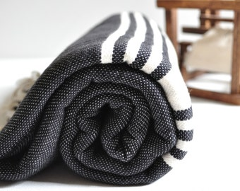 Turkish Towel Peshtemal Towel Handwoven Black ivory striped for Bath and Beach, genuine handloomed