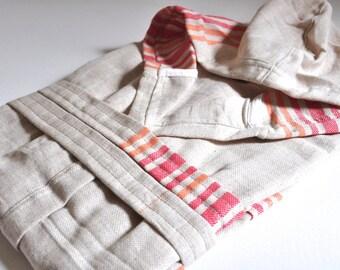 Peshtemal Robe Linen Cotton mixed Natural Linen Orange Red striped
