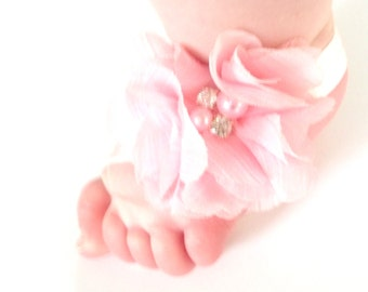 Light Pink Baby Barefoot Sandals - Baby Photo Prop