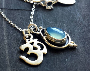 Om and Blue Chalcedony Charm Necklace Sterling Silver .925